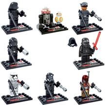 8Pcs/lot Star Wars R2D2 BB-8 Kylo Ren Figures with Laser Gun Building Blocks Toys for Children The Force Awakens bricks Doll