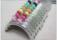 20PCS/LOT 8.5cm Colorful flat bead Metal Purse Frame semicircle Silver tone lace Coin Purse Frames,Freeshipping(China)