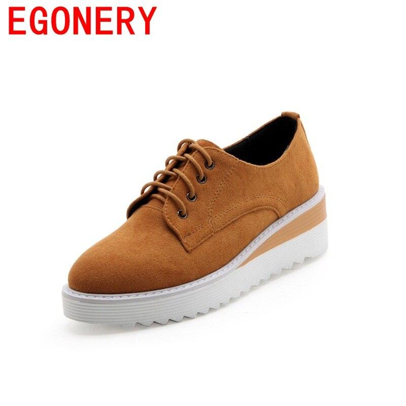 EGONERY hot sale wedges platform grind arenaceous flock fashion woman lace-up shoes chaussures campus casual spring shoes<br>