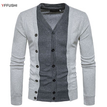 YFFUSHI 2017 New Sweater Men Spring Autumn Single Breasted Cardigan Men Grey Sweaters Casual Style Fashion Design(China)