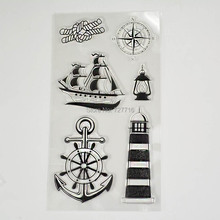1PCS TPR silicon clear Stamp Lighthouse Sailboat Design  DIY Scrapbooking/Card Making/ Decoration Supplies
