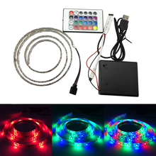 3528 SMD 60 LED Flexible RGB Rope Light with 24Keys Remote Controller TV Background Lighting Kit USB Cable 6V Battery LED Strip