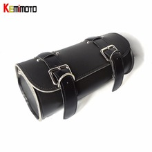 Motorcycle Bag Outdoor Roll Pu Leather Tool Bag Handlebar Front Fork Tool for Harley Motorbike leather bag(China)
