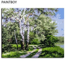 Landscape Frameless Pictures Painting By Numbers DIY Digital Canvas Oil Painting Home Decoration For Living Roon GX7487 40*50cm
