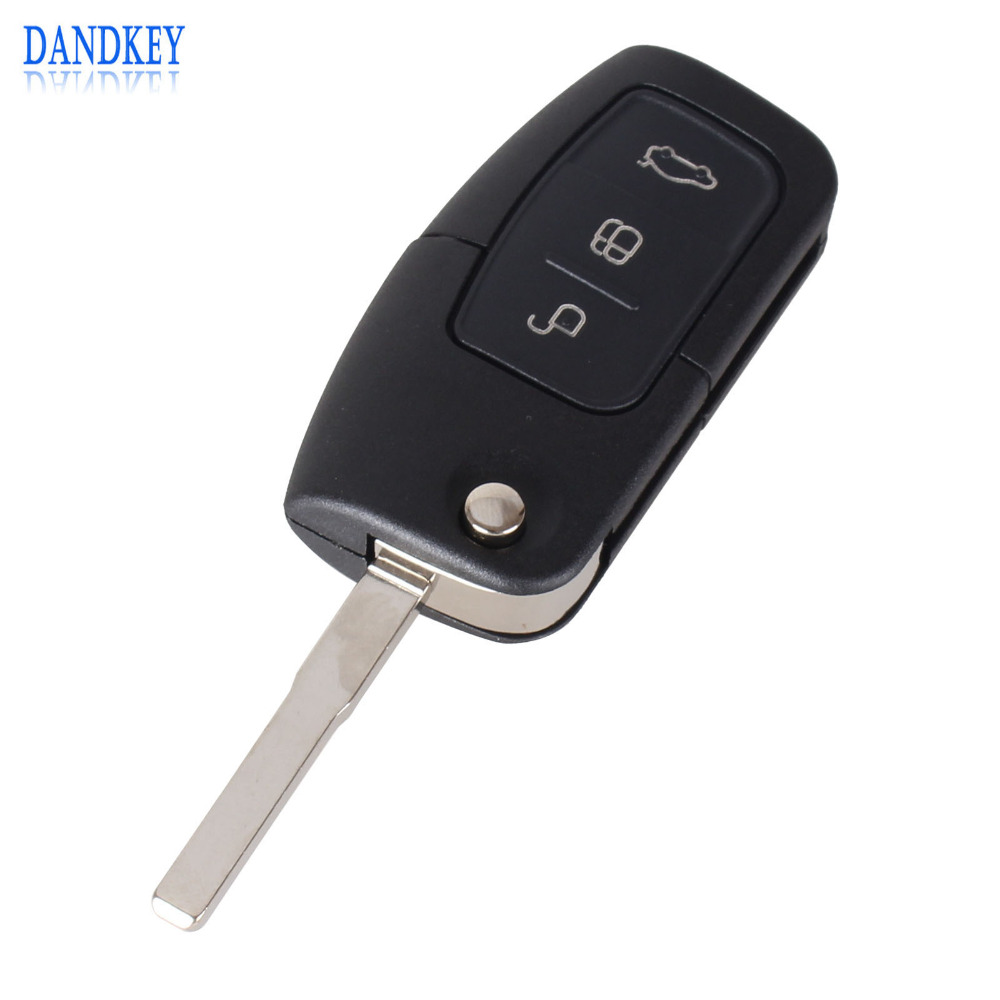 Dandkey Replacement Flip Folding 3 Buttons Remote Control Key For Ford Focus Fiesta 2013 Fob Case With HU101 Blade With Logo(China (Mainland))