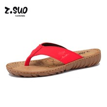 Z. Suo Women's Wedges Flip Flops Ladies Beach Shoes Cowhide Slippers Cow Muscle Outsole Summer Sandals For Women Size:35-39 Red