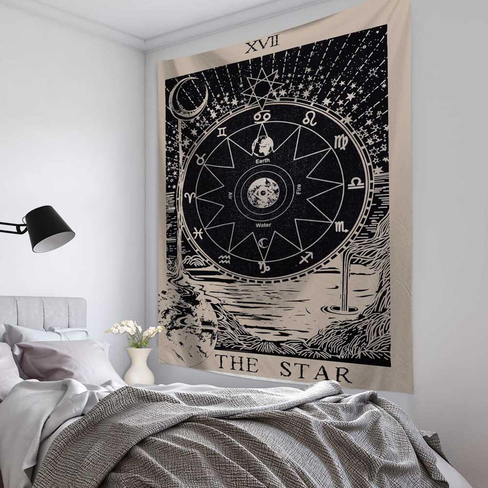 Tarot Tapestry 5 Mandala Tapestry Wall Hanging Witchcraft Hippie Beach Throw Rug Carpet Sun Moon Tapestries Bohemian Home Art Psychedelic Decor