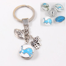 4 pcs/lot Mix Detroit Lions Keychains Key Rings 18mm Snap Button Keychains We Are #1 Dangle Key Ring USA Football Fans Jewelry(China)