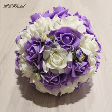 Buy 2018 New Lavender Roses Bridal Bouquets Light Purple PE Flowers Wedding Bouquet Bridesmaid Free Bouquets De Mariage for $23.70 in AliExpress store