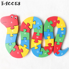 Cool Snake and Crab Wooden Puzzle Toys 3D Cartoon Animals English Letters and Numerals toys kids Jigsaw Child christmas Gift