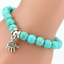 Retro Boho Natural Stone Beads Lucky Bracelets New Owl Cross Life Tree Charms Pendiantes Pryer Bracelet & Bangle For Women B222(China)