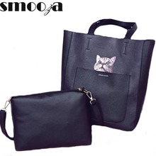 SMOOZA Women Large Handbags Leather Shoulder Bags Ladies Totes Bags Cat Printing Crossbody Bags Composite Bags Bolsas Femininas(China)