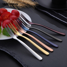 YINGTOUMAN 3set/lot 6 Colours 2-teeth Cake Fruit Stick Outdoor Camping 304 Stainless Steel Fruit Fork Camping Cookware Tableware(China)