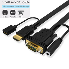 TOP Quality HDMI to VGA Converter Adapter HDMI Cable For PC  Desktop Laptop PS4 XBOX TV BOX Full HD 1080P TV Monitor Projector