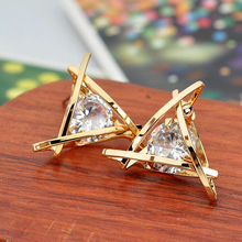 2016 New Hot Fashion exquisite triangle piercing stud zircon ear stud earrings female gifts free shipping