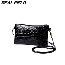 Real Field Women Clutch Bags Vintage PU Leather Crocodile Pattern Envelope Shoulder Ladies Small Messenger Handbag Female Wallet