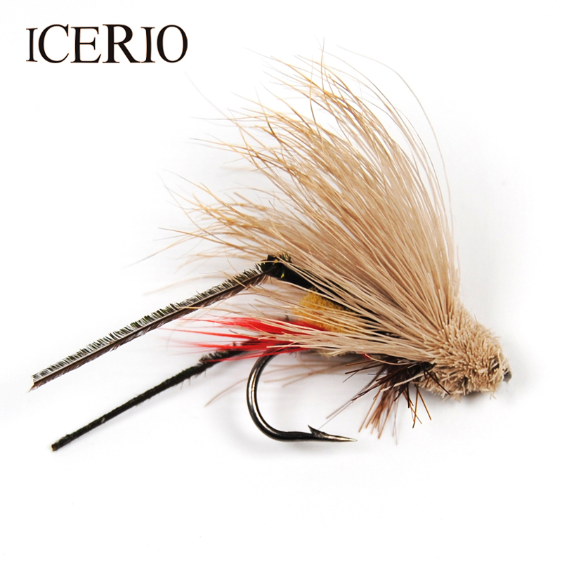 12 3 X BROWN HOPPER DRY TROUT FLIES sizes 10 14 available