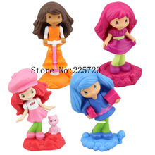 Strawberry Shortcake Dolls 2011 McDonald's Product 4pcs/set Princess Girl 10cm Action Figures Toys For Children(China)