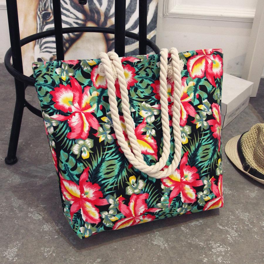 Mara's Dream 2017 Casual Women Floral Large Capacity Tote Canvas Shoulder Bag Shopping Bag Beach Bags Casual Tote Feminina 8
