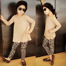 2017 Rushed Direct Selling Fashion Solid O-neck Toddler Kids Baby Girls Clothes T-shirt Tops + Leopard Pants 2pcs Outfits Set