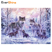Diamond Embroidery Wolves in the Winter Pattern 5D Diamond Painting Cross Stitch Wall Decoration Craft Full Square Crystal Icon