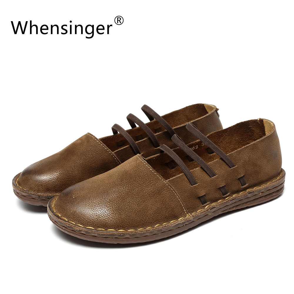 Whensinger - 2018 New Spring Women Shoes Genuine Leather Slip-On Flats Round Toe Design 8562<br>