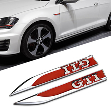 2PCS 3D Red Metal Side Wing Badge Emblem Fender GTI Sticker For Volkswagen vw Golf MK6 MK7 Polo Beetle Touran Passat CC(China)
