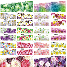 1 Sheets Full Cover Nail Art Sticker Water Transfer Decals Cartoon Flowers Design Gold & Silver White Styling Wrap A865-888