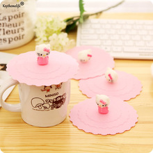 Keythemelife 1Pc Cartoon Anti-dust Silicone Glass Cup Cover Coffee Mug Silicone Lovely Hello Kitty Cup Cover Mug