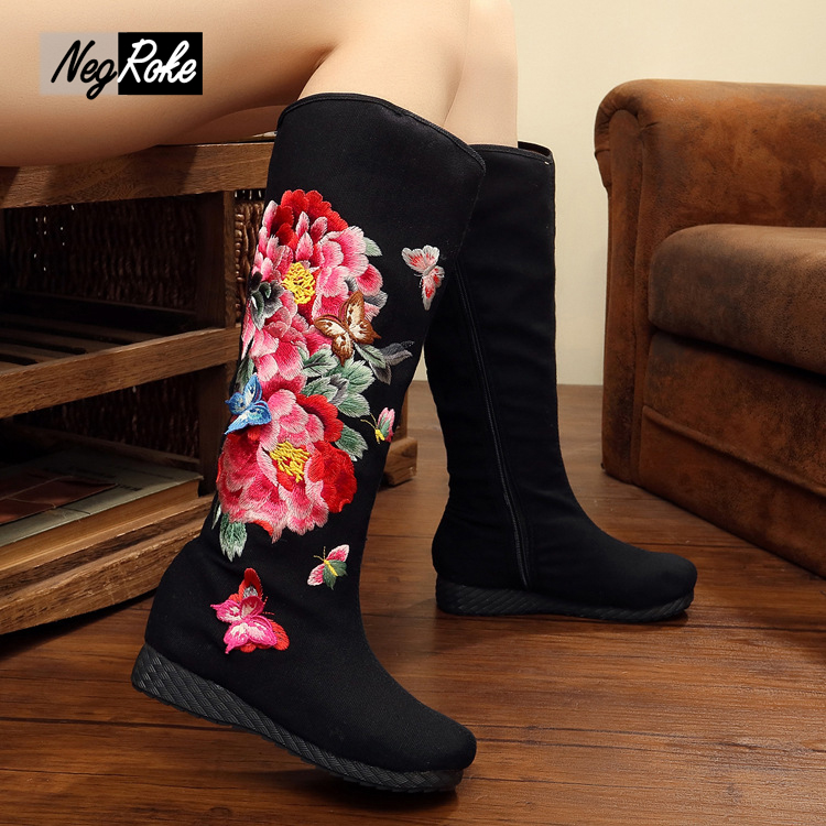 2017 new arrive fashion black shoes women boots botas mujer cotton thigh high wedge boots flower Vintage embroidery boots shoes<br><br>Aliexpress