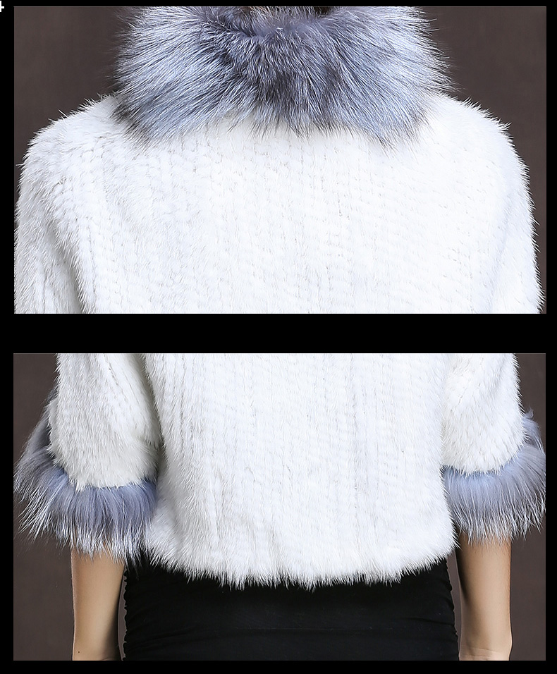 Winter Shawl Wrap Poncho Real Knit Mink Fur shawl With Fox Trimming Real fur Jacket coats party 2017 new (36)