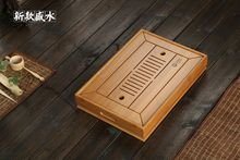 Chinese Bamboo Kungfu Tea Ceremony Table Serving Tray w/t Water Tank 34.5*22.5cm