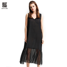 Outline Summer Women Long Dress Elegant V-neck Sleeveless Cotton Linen Dresses Casual Loose Solid BlacK Trumpet Vestido L172Y002