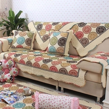 Pastoral style floral pattern of cotton flowers sofa cover Europe Embroidery Quilted Fabric Knit  Anti Mite for Living  Room