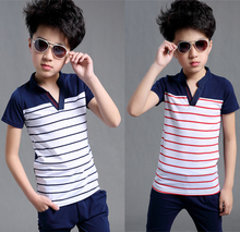Brand design custom short sleeve cotton the little prince deep v neck striped suit clothes t shirt set boy summer tops voguish