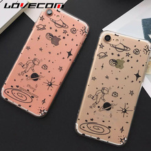 LOVECOM For iPhone 7 7 Plus 5 5S SE 6 6S Plus Astronaut Walk in Space Pattern Back Covers Soft TPU Anti Shock Mobile Phone Cases