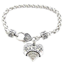 Dance Dancer Clear Crystal Heart Silver Bracelet Jewelry Ballet Jazz Drill Team