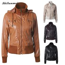 2017 winter jacket fashion lapel collar PU leather jacket Women Pu leather casual outerwear ladies bomber jacket brown black xxl(China)
