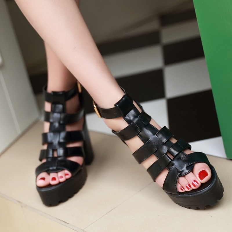 New Fashion Rome Style Shoes, Women Solid Peep Toe Gladiator Shoes, Buckle Platform Women Sandals 11