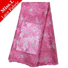 New Pink african cord lace fabric african swiss voile lace high quality fashion french lace fabric for wedding dress 5yards/lot