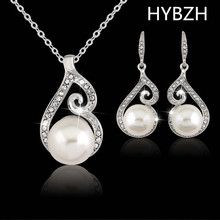 HYB Luxury Brand Imitation Pearl Necklace Earrings Wedding Jewelry Sets Vintage Fashion Crystal Bridal Jewellery Set for Women G
