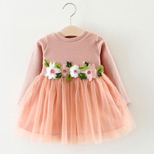 Autumn Baby Girls Floral Dress Birthday Party Dresses Infant Princess Dress For Wedding Outerwear Long Sleeve Girl Kids Cloth