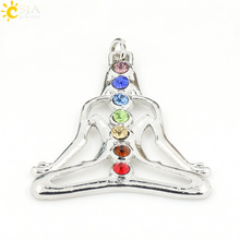 CSJA Seven Rainbow Rhinestone Pave 7 Chakra Energy Jewelry Pendant Reiki Health Amulet for Girl Boy Womans Mens Charm Gifts E014