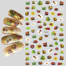 1pcs 3D Super Thin Nail Stickers Tips Nail Art Adhesive Decals Manicure Decoration Beetle Spring Insect Nail Wraps F203(China)