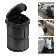 Black Portable Car Trash Can Collapsible Trash Bin With Cover Fold Leakproof Universal Travel Car Trash Can Bin(China)