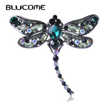 Blucome Green Dragonfly Brooches Corsages Jewelry Shining Crystal Vintage Brooch Crystal Big Broches Scarf Clothes Hijab Pins Up