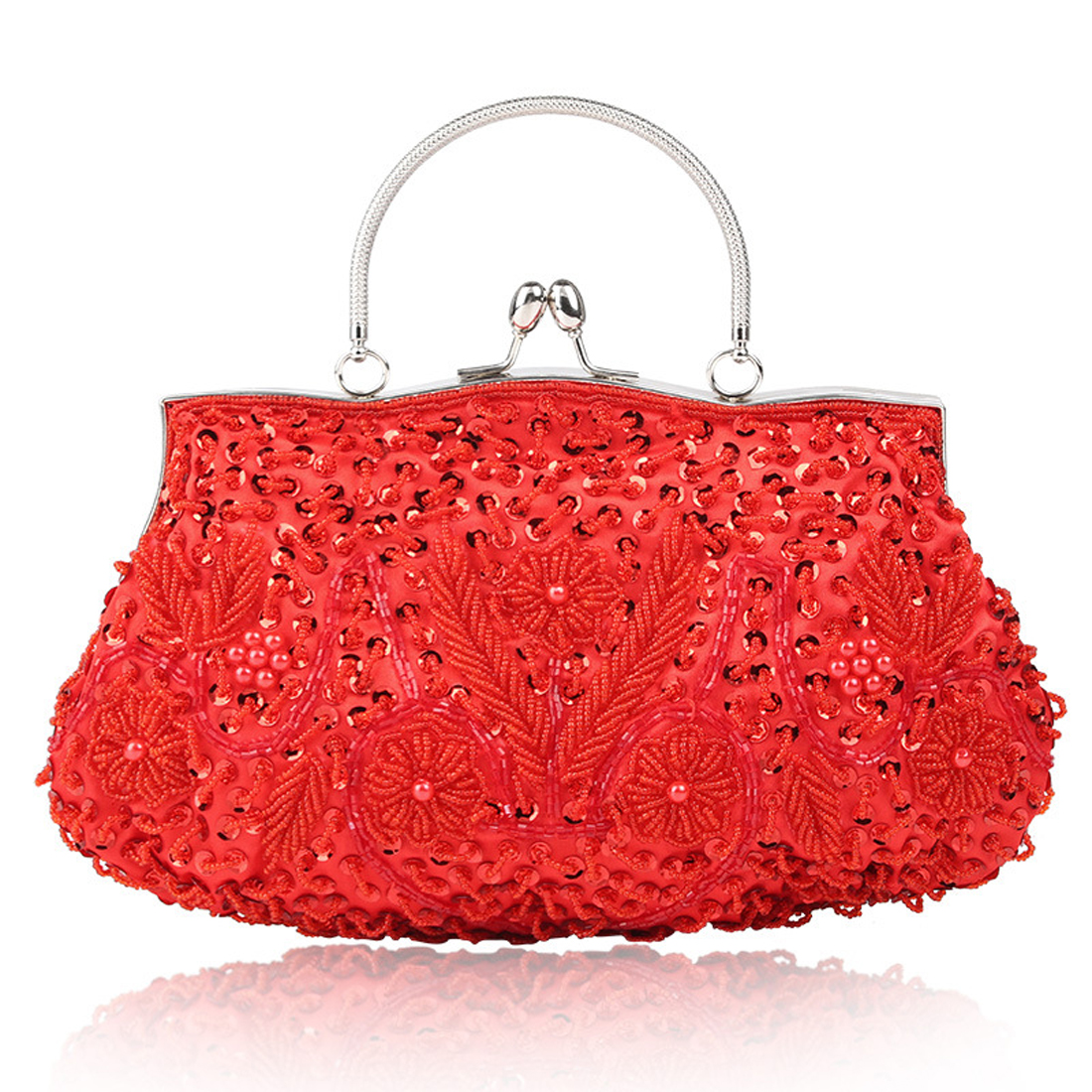 Vintage Floral beaded women Handbags Women Day Clutch bride Rhinestone Evening shoulder Bags for Wedding Party Clutches Purses<br>