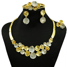 soo nice new big African costume jewelry sets new arrival necklace set wedding fashion high quality earring bangle free shipping(China)