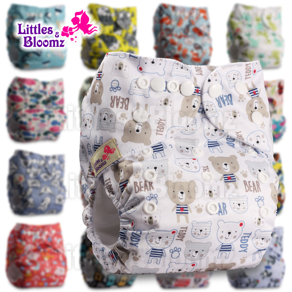 Set of 3 Fastener: Hook-Loop Patterns 323 Reusable Pocket Cloth Nappy with 3 Bamboo Inserts Littles /& Bloomz