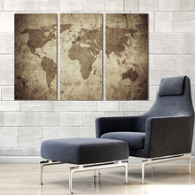 Wall Art Canvas Painting Vintage Travel World Map Painting Contemporary Pictures Modern Artwork Prints on Canvas Framed